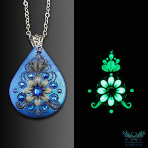 *Flowers of the Night* Handmade, Glow-in-the-Dark, Iridescent Teardrop Necklace - wizArts
