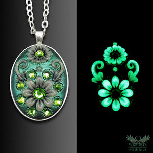 *Flowers of the Night* Handmade, Glow-in-the-Dark Oval Necklace (2) - wizArts