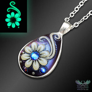 *Flowers of the Night* Handmade, Iridescent (Color-Shifting Blue/Purple), Glow-in-the-Dark Teardrop Necklace - wizArts