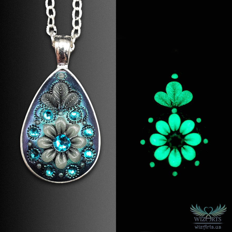 *Flowers of the Night* (Iridescent green) Handmade, Glow-in-the-Dark Teardrop Necklace - wizArts
