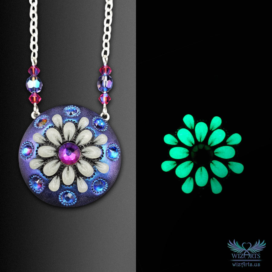 *Flowers of the Night* Handmade, Color-Shifting, Glow-in-the-Dark Mandala Necklace - wizArts