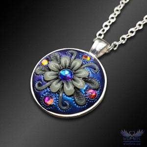 *Flowers of the Night* Handmade, Iridescent Glow-in-the-Dark Mandala Necklace (1) - wizArts