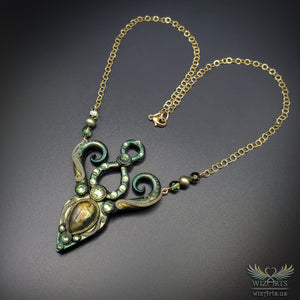 *Gaia* Hand-Sculpted, Glow-in-the-Dark Polymer Clay Necklace with Labradorite - wizArts