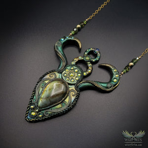 *Gaia* (Large) Hand-Sculpted Polymer Clay, Labradorite and Opals Statement Necklace - wizArts