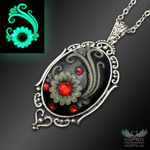 *Flowers of the Night* (Black\Red) Handmade, Glow-in-the-Dark Oval Filigree Necklace - wizArts