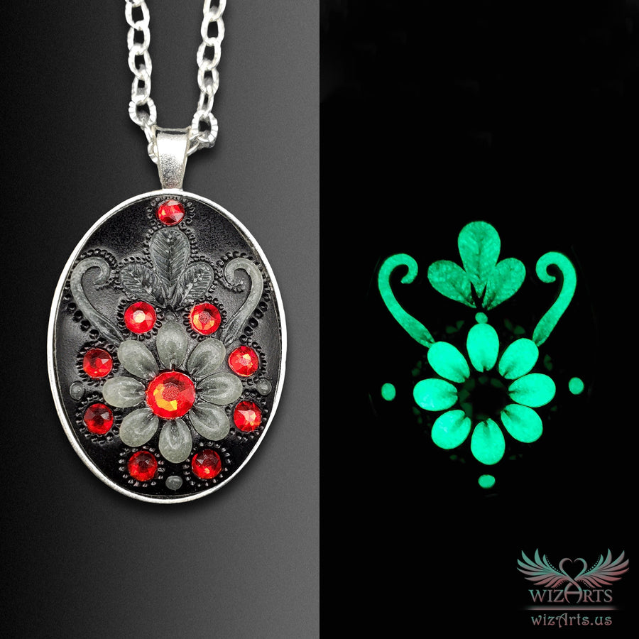 *Flowers of the Night* (Black\Red) Handmade, Glow-in-the-Dark Oval Necklace - wizArts