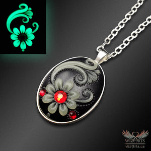 *Flowers of the Night* (Black\Red) Handmade, Glow-in-the-Dark Oval Necklace (1) - wizArts