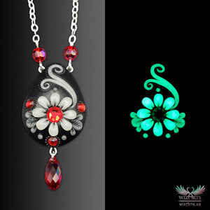 *Flowers of the Night* Black-Red Handmade, Glow-in-the-Dark Necklace 2 - wizArts