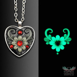 *Heart of the Night* (Black\Red) Handmade, Glow-in-the-Dark Heart Necklace - wizArts
