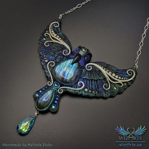 *Magickal Lightwing* Glow-In-The-Dark, Iridescent Statement Necklace - wizArts