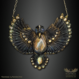 *The Golden Blackbird* Glow-in-the-Dark, Hand-Sculpted, OOAK Statement Necklace - wizArts