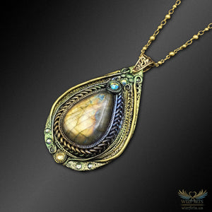 *Tear of the Ancients* - A Unique, Iridescent (Color-Shifting) Magical Art Necklace - wizArts