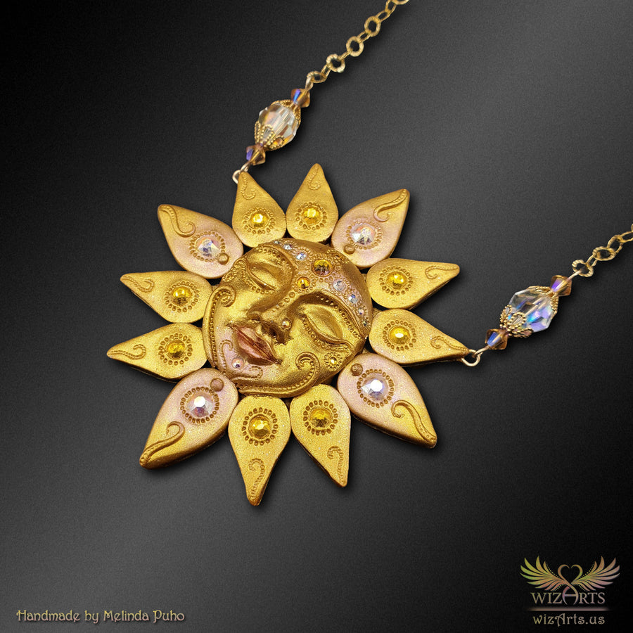 *Dreaming Sun* Handmade Polymer Clay Art Necklace - wizArts