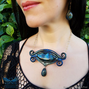 *Orion's Eye* Hand-sculpted, One-of-a-Kind Wearable Art Necklace - wizArts