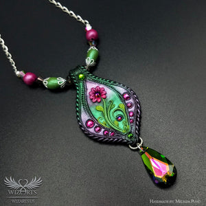 *Spring* Handmade Polymer Clay Necklace - A Unique Piece of Wearable Art - wizArts