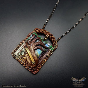*Reaching Out to the Sky* Handmade, Magical Wearable art Pendant - wizArts