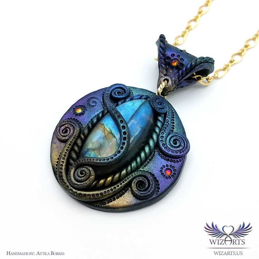 *Where Earth and Sky Embrace* Labradorite and Polymer Clay Pendant - Magical Wearable Art