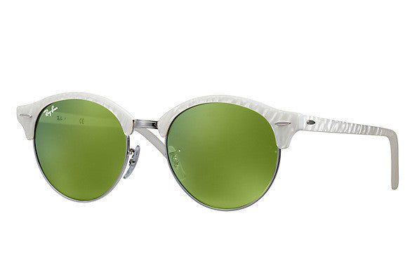 RAY-BAN CLUBROUND TOP WHITE ON WHITE/GREEN MIRROR RB4246 988/2X