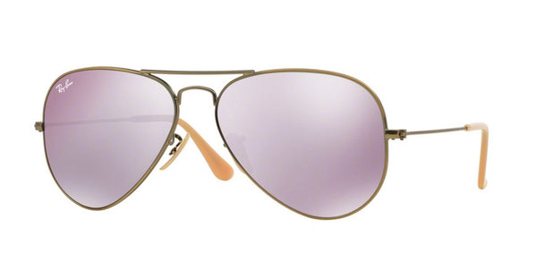 RAY-BAN AVIATOR DEMI-GLOSS BRUSHED BRONZE/LILAC MIRROR RB3025-167/4K