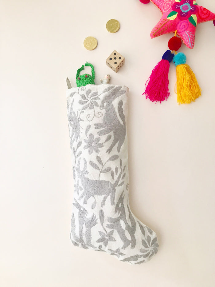 Otomi Christmas Stocking - Grey