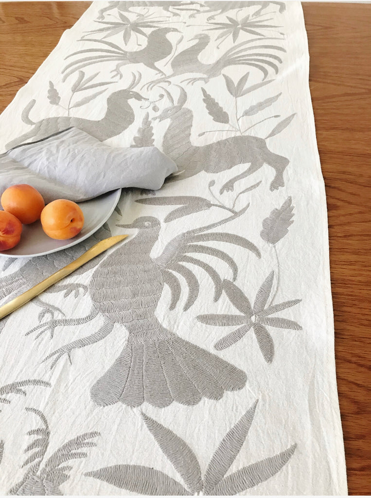 Otomi Table Runner - Grey