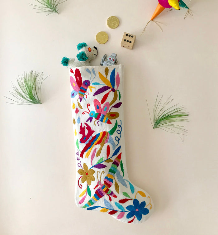MULTI COLOUR OTOMI CHRISTMAS STOCKING