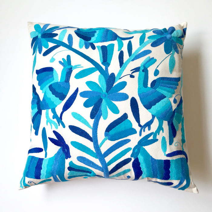 Large Otomi Pillow - Blue
