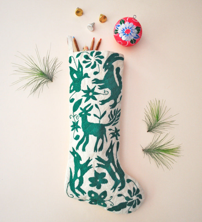 GREEN OTOMI CHRISTMAS STOCKING
