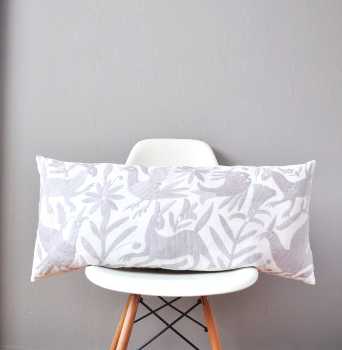 Grey Otomi Lumbar Pillow Cover