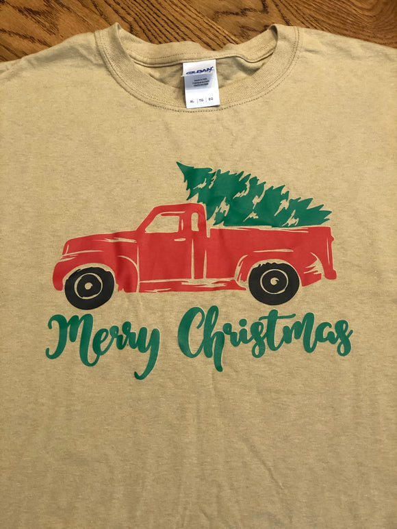Tan Christmas Truck Shirt