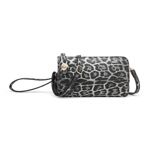 Leopard Twist Lock Wristlet-Grey