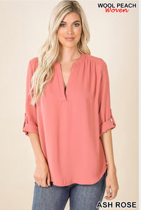 Wool Peach Woven V neck Ash Rose