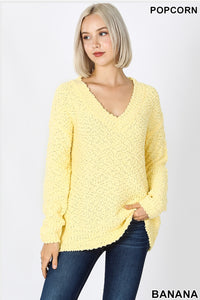 Popcorn Vneck sweater-Banana