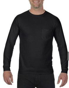 Comfort Color Long Sleeve Pocket Tee-Black
