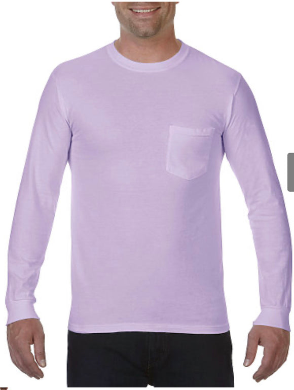 Comfort Color Long Sleeve Pocket Tee-Orchid