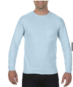 Comfort Color Long Sleeve Pocket Tee-Chambray