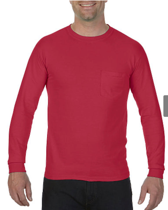 Comfort Color Long Sleeve Pocket Tee-Brick
