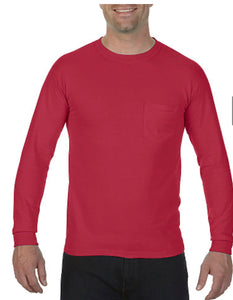 Comfort Color Long Sleeve Pocket Tee-Red