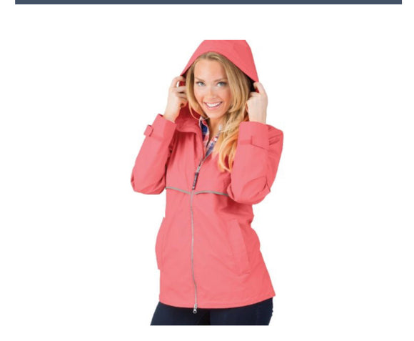 Charles River Rain Jacket -Bright Coral