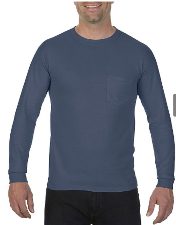 Comfort Color Long Sleeve Pocket Tee-Denim