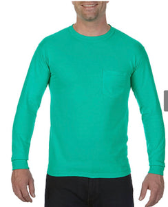 Comfort Color Long Sleeve Pocket Tee-Island Green