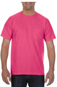 Comfort Color Pocket Tees-Heliconia