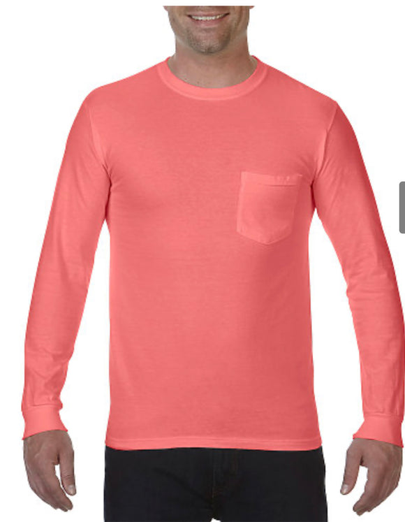 Comfort Color Long Sleeve Pocket Tee-Crunchberry