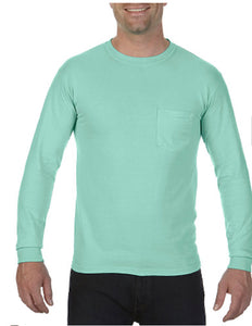 Comfort Color Long Sleeve Pocket Tee-Chalky Mint