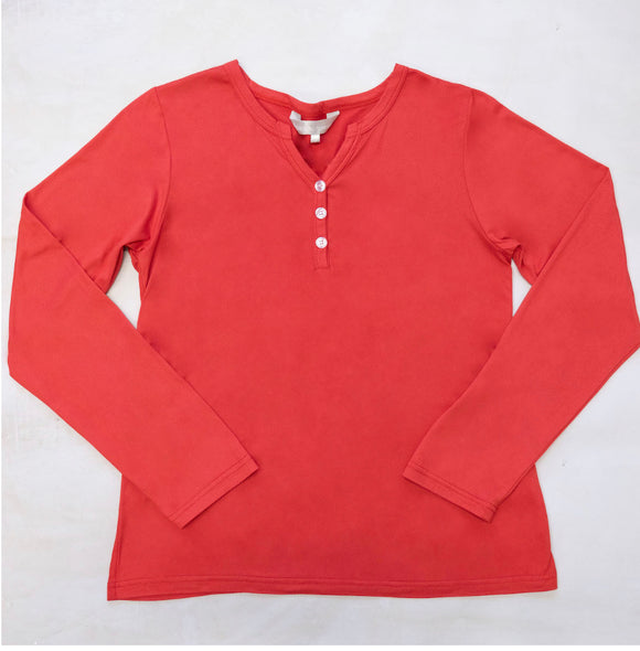 Red Long Sleeve Lounge shirt