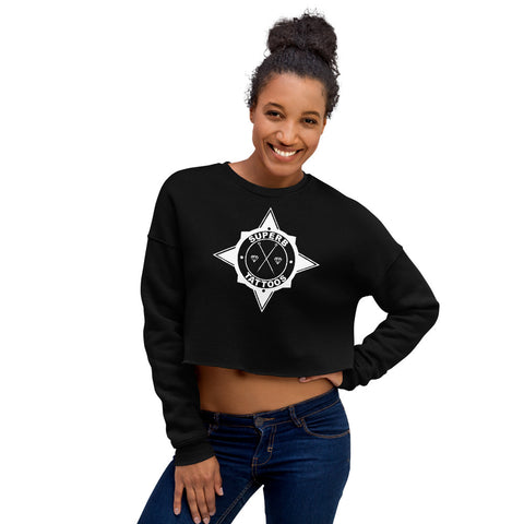 White Superb Tattoos Badge - Crop Sweatshirt