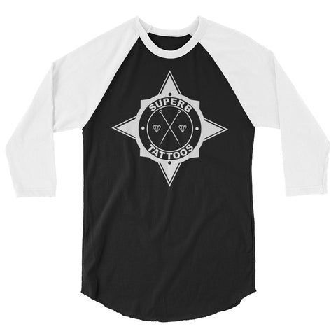 White Superb Tattoos Badge - 3/4 sleeve raglan shirt