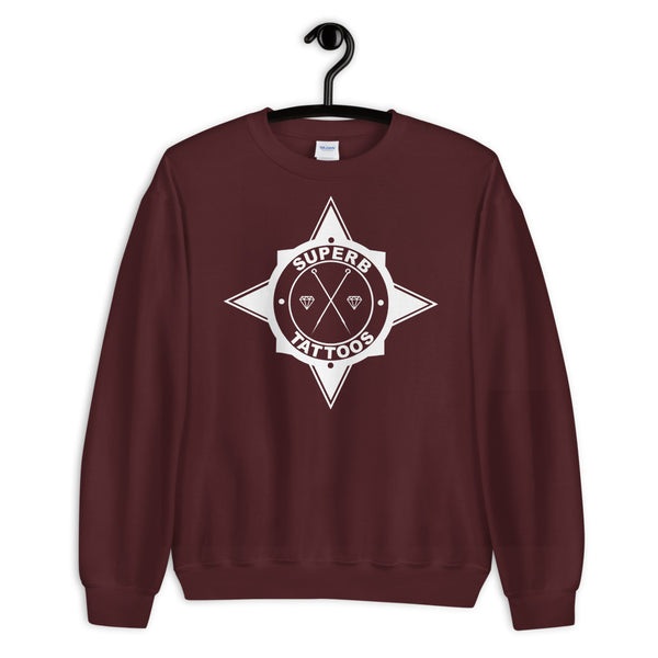 White Superb Tattoos Badge - Unisex Sweatshirt