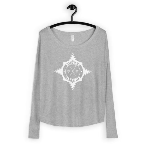 White Superb Tattoos Badge- Ladies' Flowy Long Sleeve Tee