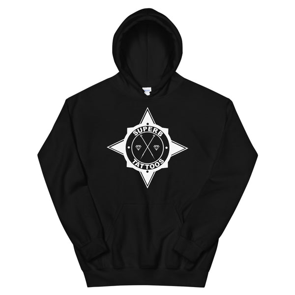 White Superb Tattoos Badge - Unisex Hoodie